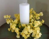 Spring Summer Wreath, Yellow Flowers Beach Lantern Swag, Lamp Ring,Yellow, Small Wreath- free shipping