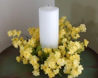 Spring Summer Wreath, Yellow Flowers Beach Lantern Swag, Lamp Ring,Yellow, Small Wreath