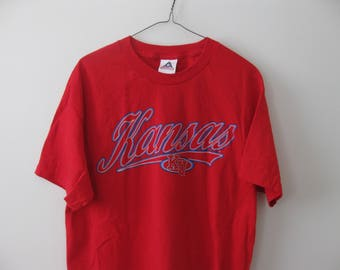 Kansas University Jayhawks T-shirt shirt Red Adult Large