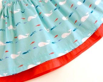NEW! Organic baby skirt, girls skirt, orgnic skirt, cotton skirt, whales,  baby gift, toddler skirt, toddler gift