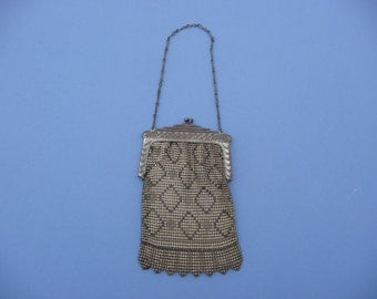 1920's Antique Vintage Purse ~ Whiting And Davis Metal Mesh Handbag, Purse, Metal Chain & Frame ~ Good Condition, Is 12 X 4 Inch With Handle