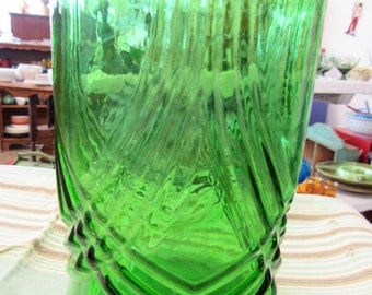 Vintage Hoosier Green Glass Vase or Utensil Holder