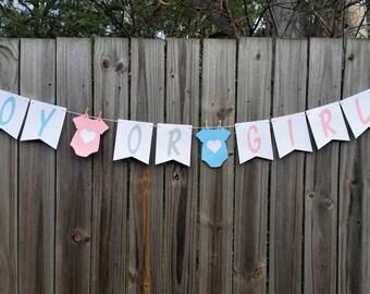 Boy Or Girl? Baby Shower Bunting, Banner, Garland Gender Reveal Surprise Decoration