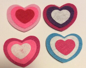 Felt heart stickers