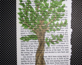 Tree art, book page art, tree illustration, Tree drawing, Home Decor