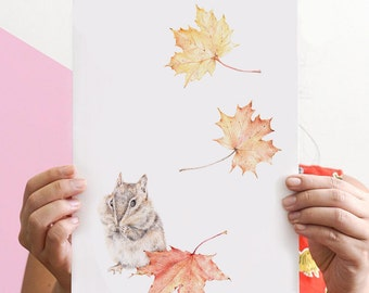 Chipmunk Drawing, Woodland Art, Autumn Leaves Illustration, Woodland Nursery, Kids Room Art | A3, A4, 8x10 Giclee Print