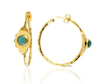 Hoop Earrings- Gold Earrings Silver-Amazonite Round 6mm-New Design-Handmade Jewelry-Gift for Her