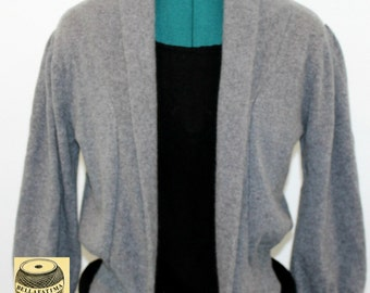 Gray Cashmere Sweater with wide lapel and gathered sleeves. Spring sweater, soft sweater, sweet sweater, versatile sweater