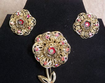 Sarah Coventry Vintage Floral Brooch and Earring Set