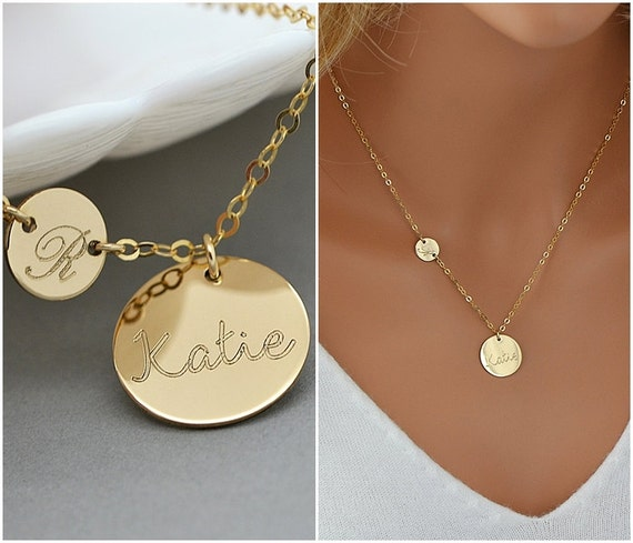 personalized initial necklace initial disc name disc. Black Bedroom Furniture Sets. Home Design Ideas