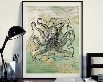 Vintage Map of North America Octopus Kraken Sea Ocean Seaside Nautical Poster Instant Download Printable A4 A3 8×10 & 11x14 Wall HQ300dpi