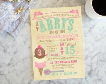 Ice Cream Party, Girls Birthday Party Personalized Invite, Retro Ice Cream Birthday, Birthday Card Customizable
