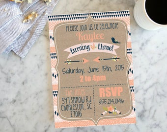 Rustic Arrow Girls Birthday Invite, Coral Navy Invite, Girl's Birthday Invitation,  Birthday Party Invite with Arrows