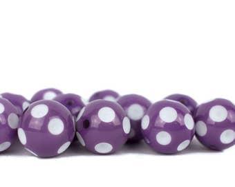 20mm purple bubble gum beads, purple chunky beads,