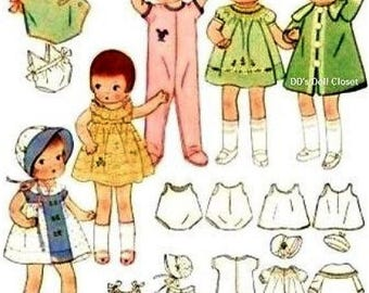 """Darling Pattern for a Complete 9"""" Patsyette Doll Wardrobe"""