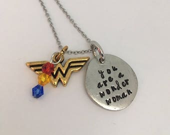 Hand Stamped Wonder Woman necklace - Great for Mother's Day