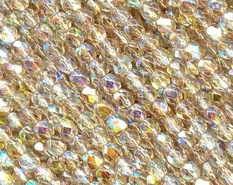 600 pcs of Crystal Lemon Rainbow coated Preciosa Czech Fire Polished Round Faceted Glass Beads in sizes 2mm, 3mm and 4mm