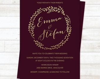 Burgundy Wedding Invitation, Burgundy Wedding, Wedding Invitation Printable, Wedding Invitation Template