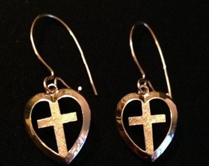 Storewide 25% Off SALE Vintage Solid 14k Gold Pierced Heart Cross Earrings Featuring Unique Religious Wire Cross Design With Elegant Finish