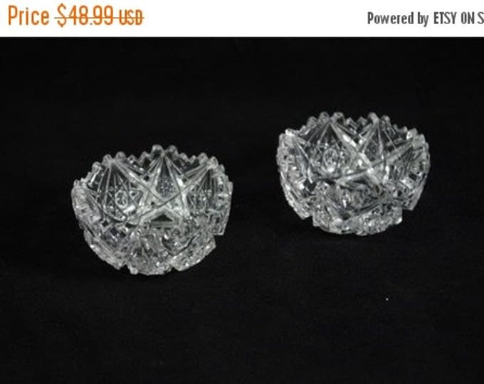Storewide 25% Off SALE Wonderful Matching Set Vintage Clear Patterned Crystal Cut Personal Dining Salt Cellars Featuring Delicate Pattern De