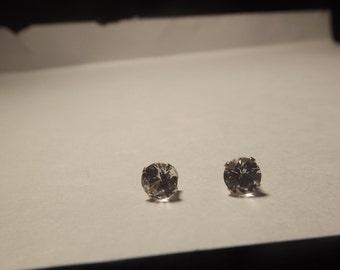 6MM White Sapphire Studs Round Cut