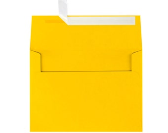Yellow Envelopes A7 for 5x7 Invitations or Cards - Envelope Upgrade - Peel & Seal Envelopes - Easy Seal Envelopes - Sunflower