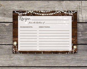 BBQ Bridal Shower Recipe Cards - Instant Download - 4x6 Recipe Cards - Rustic Bridal Shower Favors - I Do BBQ - Bridal-106