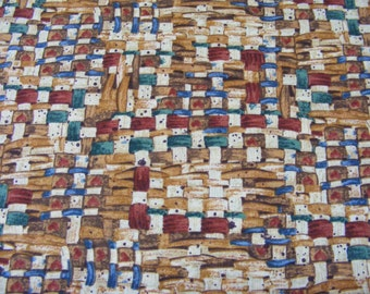 Multi-Colored Basket Weave Fabric~1 yard~South Sea Imports~Memories of Home~Cotton~SSI~Southwestern