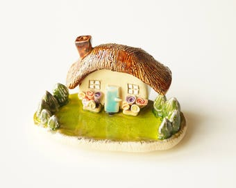 Little House Sculpture, Miniature House, Housewarming Cake Topper, Ceramic House, Ceramic Cake Topper by HerMoments
