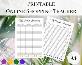 Online Shopping Tracker Printable, Printable Planner Pages, Planner Shopping Tracker, Planner Inserts A4, Printable Inserts, Filofax Inserts