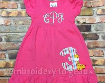 Giraffe Birthday Dress, Zoo Birthday Dress, Animal Birthday Dress, Girls Birthday Dress, Toddler Birthday Dress
