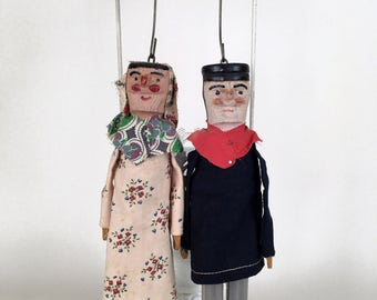 Vintage wooden dolls, painted wood puppets, French folk art dolls