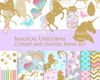 20% off Magical Unicorns / Gold Glitter Unicorns / Einhorn / Unicorn Clip Art + Digital Paper Set - Instant Download