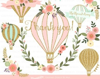 Floral Hot Air Balloon / Gold Hot Air Balloon Clip Art - Instant Download - CA146