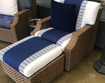 Outdoor Chair Cushion Cobalt Blue Stripe Large Stripe Patio Furniture Patio  Chair Cushion Custom Cushion Wide