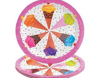 I love Ice cream Party dinner plates  / Ice cream theme party / Ice Cream Party / Ice Cream