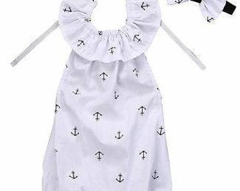 Navy Blue Anchors White romper headband set baby todler girls