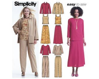 Simplicity 5463 Sewing Pattern Misses Pants Skirt Tank Top Jacket and Top sz 10 thru 18 Uncut