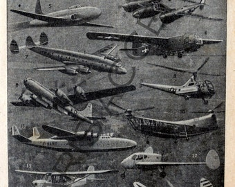 Instant digital download of 'Aviation',from 'Nouveau Petit Larousse Illustré,a French Encyclopedia.Useful teaching aid,Dated 1952