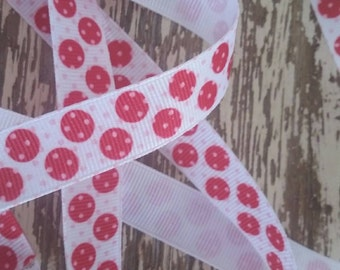 Red and pink polka dot grosgrain ribbon 1/2 inch by 10 yrds