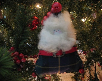 Handmade Santa Ornament Green, Black, Navy, Gold Cotton Plaid, Button and Bead Accents, Sheep's Wool Beard  and Hair, Deco Silver Buckle