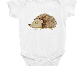Hedgehog onesie, onesie with a stencil design, baby clothes with stencils, hedgehog bodysuit