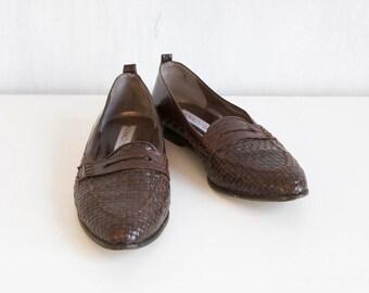 Donald J Pliner shoes / Brown leather shoes / brown woven loafers shoes / 80s brown woven shoes