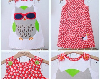 Reversible Dress, girls pinafore, Owl Lover, retro style, shift dress, 2 in 1,chintzy, cotton, poplin, owl print dress,