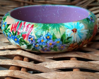 Painted jewelry-Painted wood bracelet-Wood bangle bracelet- Unique gift for her-Stylish accessory-Flowers-Women's fashion- Spring fashion