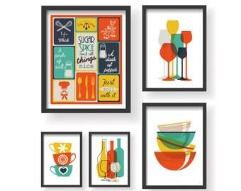 Retro Colors Kitchen Prints 5 Set - Kitchen wall art - Kitchen prints - Kitchen art set - Kitchen set - Retro Color Kitchen poster - Retro