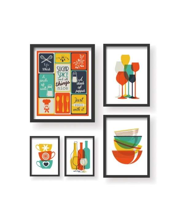 Retro colors kitchen prints 5 set kitchen wall art kitchen for Art prints for kitchen wall