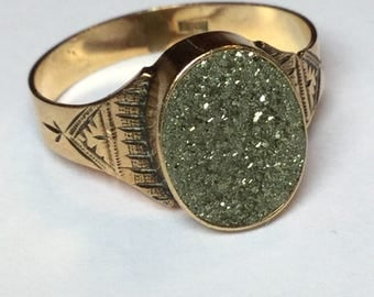 Vintage Victorian 10k Rosey Yellow Gold Pyrite Ring