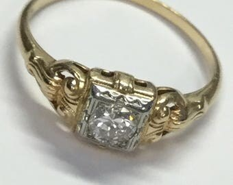Vintage Art Deco 14k Yellow Gold .25ct Diamond Engagement or Right Hand Ring