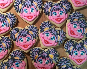 Abby Cadabby Decorated Sugar Cookies- Sesame Street Character Cookies- Cookie Favors- Individually Wrapped Cookies- 1 dozen